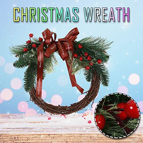 CROSYO Decoración de Navidad Guirnalda de ratán DIY Cintas Colgando Decoración Hogar Puerta Boda Guirnalda Fiesta de Navidad Adornos de Regalo (Color : A)