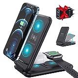 3 en 1 Estación de Carga Compatible con iPhone iWatch Airpods, 15W Qi Estación Plegable de Carga inductiva Compatible con iPhone 12/11/11Pro/XR/Xs/8/8Plus/Samsung/iWatch/SE/6/5/4/3/2/AirPods 2/Pro