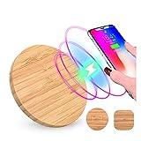 Chargeur sans fil Wera Qi sans fil en bois, forme ronde, compatible avec Apple, Samsung, Xiaomi,...