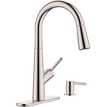 Hansgrohe 1 Handle 17 Inch Tall Stainless Steel Kitchen Faucet With Pull Down Sprayer With Quickclean In Stainless Steel Optic 04749805 Amazon Com