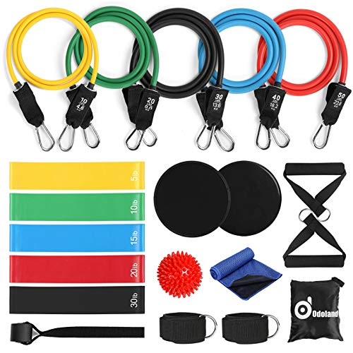 Odoland 21pcs Resistance Bands Set, Exercise Loop Bands with Door Anchor, Handles, Core Sliders, Ankle Straps, Massage Ball and Sport Towel for Resistance Training, Physical Therapy, Home Workouts