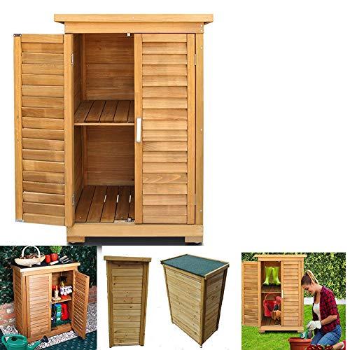 ZHOUAICHENG Jardín Caja de Almacenamiento de Almacenamiento al Aire Libre Shed persianas Armario Diseño armarios de Madera de Madera adecuados para Patios de jardín (Med: 69 x 43 x 96cm)