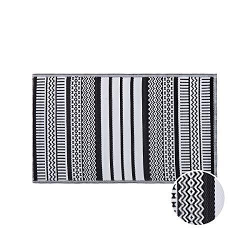 Butlers Colour Clash 150x90 cm Outdoorteppich Ethno - sshwarz-weißer Teppich - für Balkon und Terrasse geeignet - auch für Indoor - Ornamente in Mosaikform