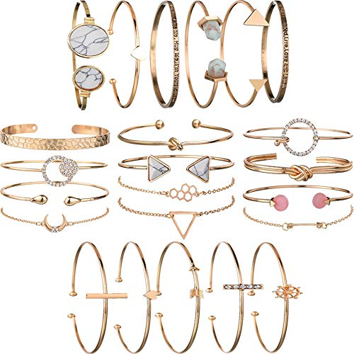 5 PACK (23pcs) Multiple Layered Stackable Open Cuff Wrap Bangle Bracelet Jewelry Adjustable for Women Girls Wholesales Set Assorted