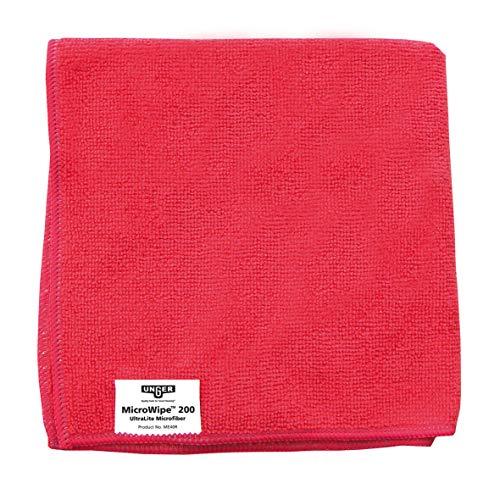 Unger Mikrofasertuch MicroWipe 200 (Farbe rot, Größe 40x40 cm, 1 Stück, 80% Polyester / 20% Polyamid, Reinigungstücher) ME40R