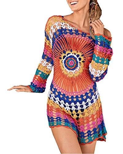 PANAX Damen Gestrickte Urlaub Baumwolle Strandkleid - Häkeln Tunika Biniki Cover up Style1 bunt Farbe