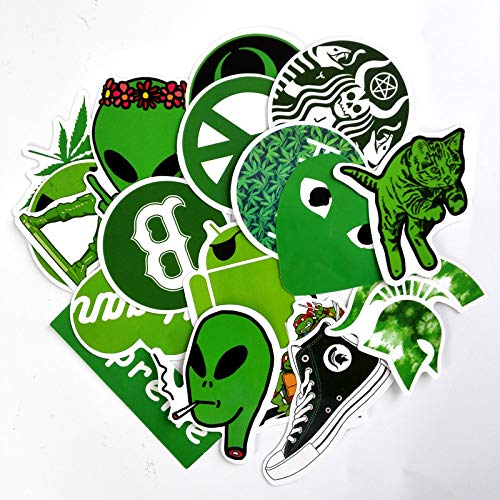 YCYY 20 Juego de Pegatinas Verdes Hoja de cáñamo Tortugas Ninja Mutantes Adolescentes Pegatina de Graffiti Impermeable