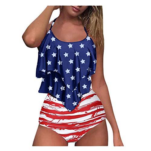 YANFANG Bikini De Mujer Conjunto con Estampado TeñIdo Anudado Traje BañO Sujetador Relleno Dos Piezas Ropa Playa,Push Up Tanga Cintura Baja BrasileñOs BañAdor Tops Y Braguitas Ropa,Amarillo