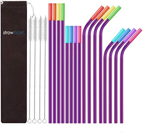 StrawExpert Set of 16 Reusable Stainless Steel Straws with Travel Case Cleaning Brush Silicone Tips Eco Friendly Extra Long Metal Straws Drinking for 20 24 30 oz Tumbler