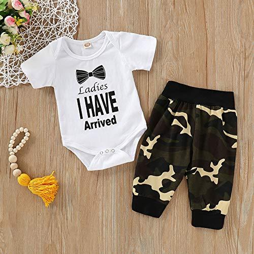 Herewegoo Baby Jongens Jumpsuit met Broek Pak Korte mouw Print Ronde hals Camo Kleding Set voor de zomer