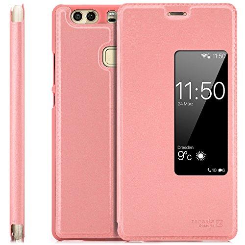 Zanasta Designs Custodia Compatibile con Huawei P9 Plus Cover Flip Wallet Case Copertura con Finestra Vista, Protezione della Fotocamera Rosa