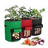 Skymico Bolsa de Siembra Bolsa de Siembra de Patatas 3 Piezas de Bolsa de Siembra de 7 Galones Adecuado para Plantas, Patatas, Tomates, Zanahorias, Cebollas (Color Mezclado)