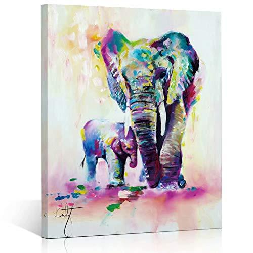 TONZOM Canvas Wall Art for Room Decor Frame Elephant, Baby Elephant Watercolor