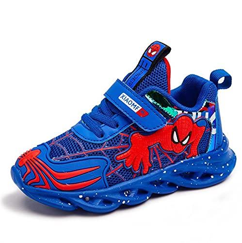 Barnens LED-lampa Upp Spiderman Skor, Sneakers Andas Bekväma Pojkar Casual Skor (Color : Blue, Size : 28)