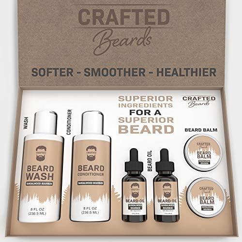 Beard Grooming Kit Crafted Beards Ultimate Beard Kit Sandalwood Bourbon Beard Wash Organic Shampoo product image