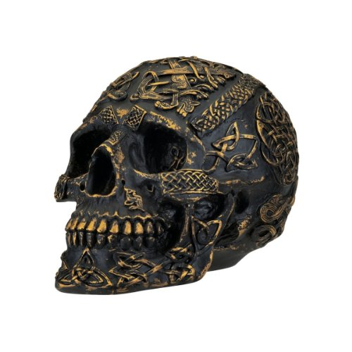 Design Toscano PD0374 Passage of Life Skull Celtic Knot Gothic Statue, 8 Inch, Polyresin, Black and Gold