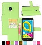 HualuBro Alcatel U5 4G Hülle, Leder Brieftasche Etui Tasche Schutzhülle HandyHülle [Standfunktion] Leather Wallet Flip Hülle Cover für Alcatel U5 4G (Grün)