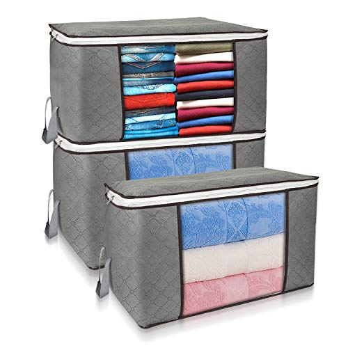 3 Pack Large Foldable Capacity Clothes Organizer Storage Bag with Reinforced Handle Clear Window, Thick Fabric Storage Containers for Comforters, Blankets, Bedding, Grey