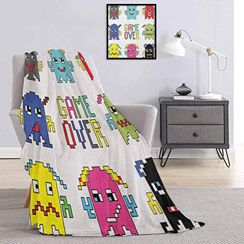 90s Bed Blanket Pixel Robot Emoticons with Game Over Sign Inspired by 90s Computer Games Fun Artprint Soft,Warm,All-Season Multi-Purpose Yellow Red W60 x L70 Inch