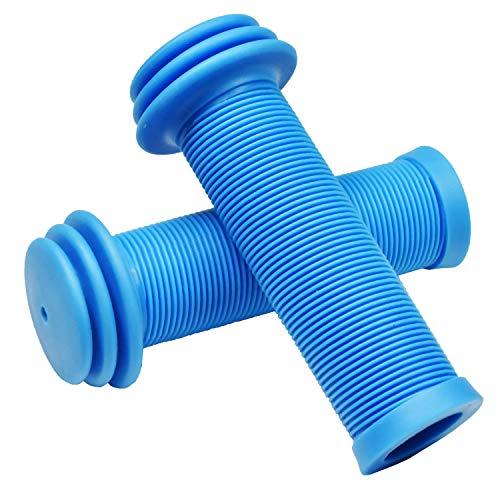 MARQUE Mini-Kinderfahrrad-Lenkergriffe – Fahrradgriffe mit übergroßen Lenkerenden für zusätzlichen Stoßschutz für Roller, Laufrad-Ersatzgriffe, Pilzmuster für bequemen Griff (blau)