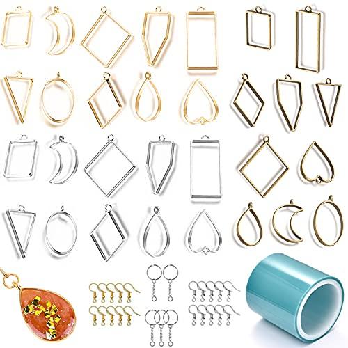 Ciondoli per Resina Forma di lunetta Aperta 55 pezzi Ciondoli Geometrici DIY Telaio Ciondoli in Resina Epossidica per Bracciali Collane Orecchini in Resina con 1 Rotolo di Nastro