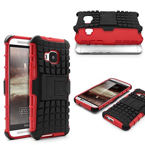 Urcover® Armor Outdoor Hülle kompatibel mit HTC One M9 Shockproof Tasche Schutzhülle Hülle Cover TPU Flexibel Stoßfest Standfuß Rot