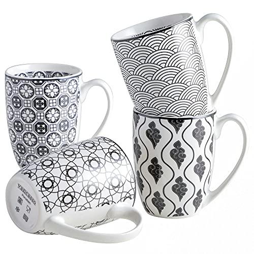 Tafelservice, vancasso HARUKA Kaffeetassen aus Porzellan, 4-teiliges Tassen Set, 300 ml Kaffeebecher mit Henkel