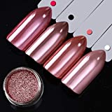 DR.MODE Rose Gold Chrom Nagel Pulver Spiegeleffekt Glitzer Nagel Pulver Maniküre Pigmente 1 Glas * 0,2g +2 Applikatoren