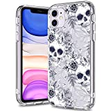 BICOL iPhone 11 Case,Skull Pattern Clear Design Transparent Plastic Hard Back Case with TPU Bumper Protective Case Cover for Apple iPhone 11 (2019)