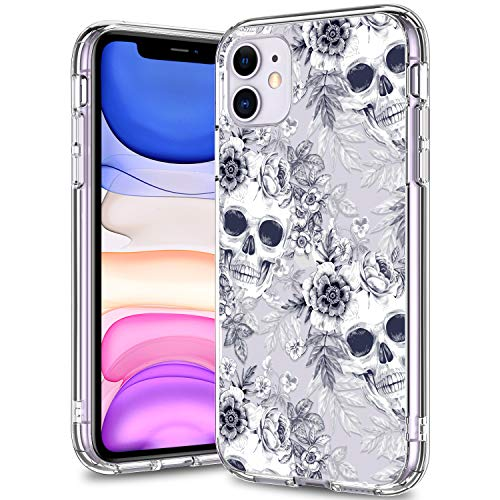 BICOL iPhone 11 Case Clear with Design for Girls Women,12ft Drop Tested,Military Grade Shockproof,Slip Resistant Slim Fit Protective Phone Case for Apple iPhone 11 6.1 inch 2019 Blue Skulls