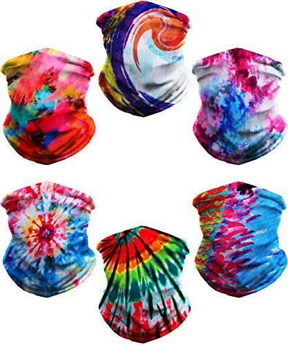 Neck Gaiter Face Cover Balaclava Head wear UV Protection Breathable Bandana Scarf(6 Pieces Tie Dye Series)