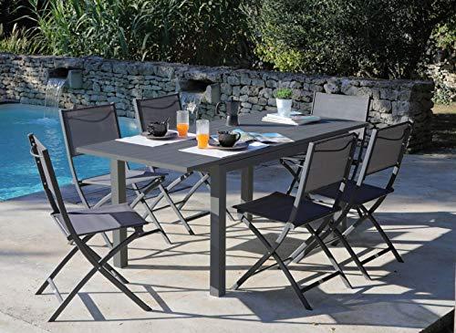 Proloisirs Table Jardin en Aluminium avec allonge Trieste 110 à 170 cm