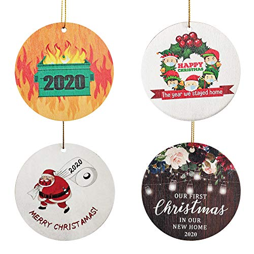 WAPAG Christmas Tree Ornaments, 4 Pack Wooden Christmas Ornaments, Holiday Hanging Christmas Decorations Xmas Gifts (Style 3)