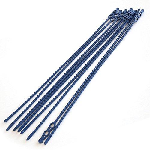 Snelbinder, bliksembinder, kabelbinder kunststof, detecteerbaar, blauw, herbruikbaar, maat: 18 cm