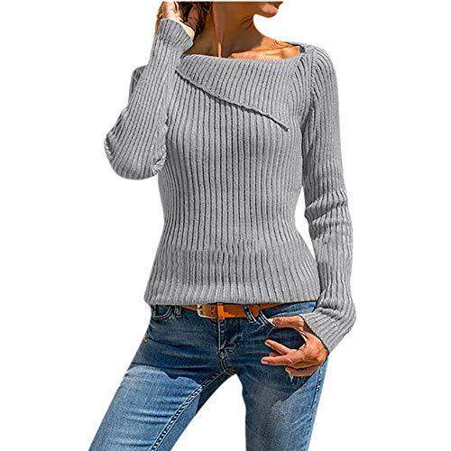 Lazzboy Sweater Jumper Womens Long Sleeve Irregular Collar Plain Slim Basic Pullover Tops UK 8-16(XL(14),Grey)