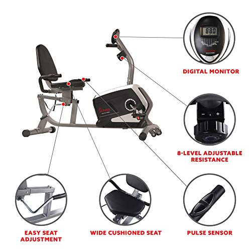 Sunny Health & Fitness Magnetic Recumbent Exercise Bike, Pulse Rate Monitoring, 300 lb Capacity,...
