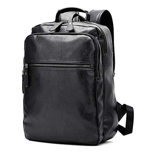 C/H Mochila de cuero de la PU para 15.6 pulgadas de negocios mochila portátil con carga USB ligero mochila casual mochila inteligente negro