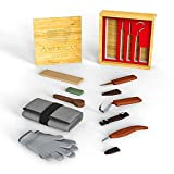 American Crafters Wood Carving Tools Set - Whittling Kuksa Spoon Cup Carving Knife Kit - Hook Chip Sloyd Detail Knives, Polishing Compound, Leather Strop, Cut Resistant Gloves and Bamboo Box - 12pcs