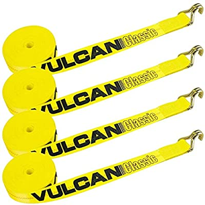 VULCAN Winch Strap with Wire Hook - 2 Inch x 27 Foot, 4 Pack - Classic Yellow - 3,300 Pound Safe Working Load