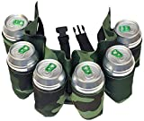 Pack of 6 Beer Belts / Holsters, Camouflage Green