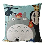 MOMIKA Cute Totoro Cotton and Linen Throw Pillow Cover Home Decor Sofa Cover Cartoon Square Pillow Covers 18'x18'