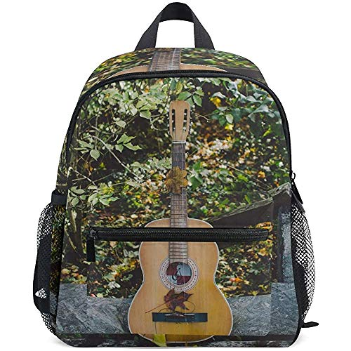 Student Bag, akoestische gitaar-muziekinstrumentendruk voor volwassenen dagrugzakken voor volwassenen buiten, 40 cm (H) x29 cm (W)