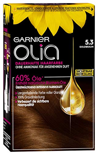 Garnier Olia 5.3 Goldbraun, Dauerhafte Haarfarbe mit natürlichem Öl, Ohne Ammoniak für einen angenehmen Duft (3 Stück)