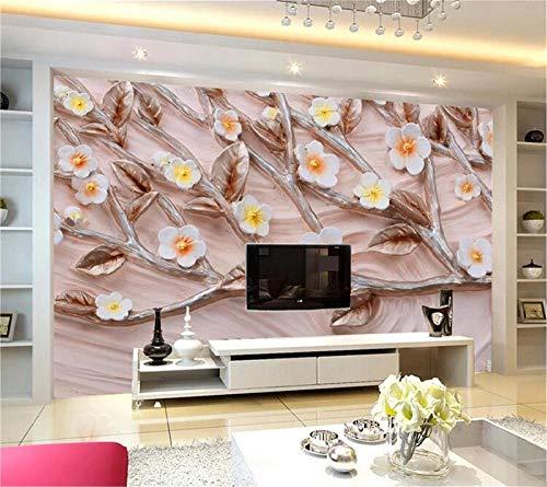 ZJfong behang 3D bloemen reliëf achtergrond muur Europese decoratieve schilderij bank woonkamer TV achtergrond muur 300 x 200 cm.