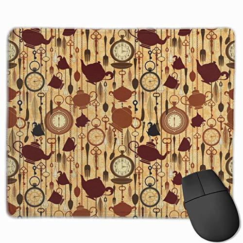 Artículos para la Hora del Desayuno Taza de té Tenedores Cucharas Alfombrilla de ratón Antideslizante Personalizada con Bordes cosidos Alfombrilla de ratón de 25X30 cm Alfombrilla de ratón