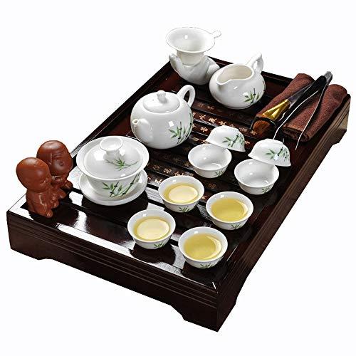 ufengke-ts Kung Fu Keramik Tee Set Mit Hölzernem Tee Tablett, Grünes Bambusblatt Muster Weinlese Chinesisches Teeservice, Für Geschenk und Haushalt, Büro