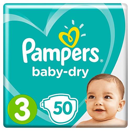 Pampers Baby-Dry Größe 3, 50 Windeln, 6-10 kg, Essential Pack, Luftkanäle für atmungsaktive Trockenheit über Nacht