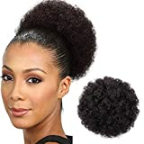 AISI QUEENS Afro Puff Drawstring Ponytail for Black Women Curly Hair Ponytail Extension, Black Brown Afro Bun Ponytail Clip on Hair Extensions for Black Women(#2)