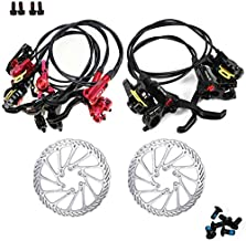?US STOCK? Aluminum Alloy Front Rear Disc Brake Levers with 160mm Disc Brake Rotor, MTB Hydraulic Disc Brakes Right Front Left Rear, Fit for Mountain Bike PM IS Adapter with 53.1er Rear Cable.