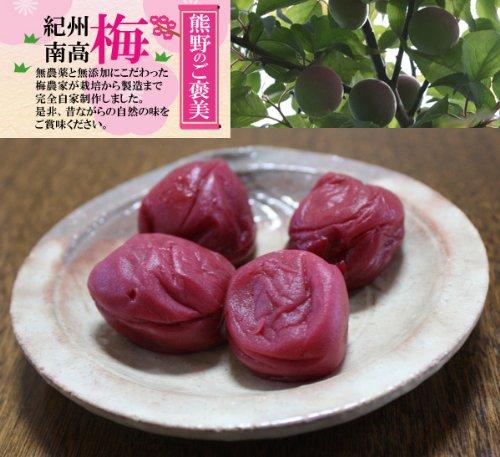 無農薬 しそ漬 南高梅 1kg 熊野のご褒美 和歌山産 無添加 無化学肥料 梅干し